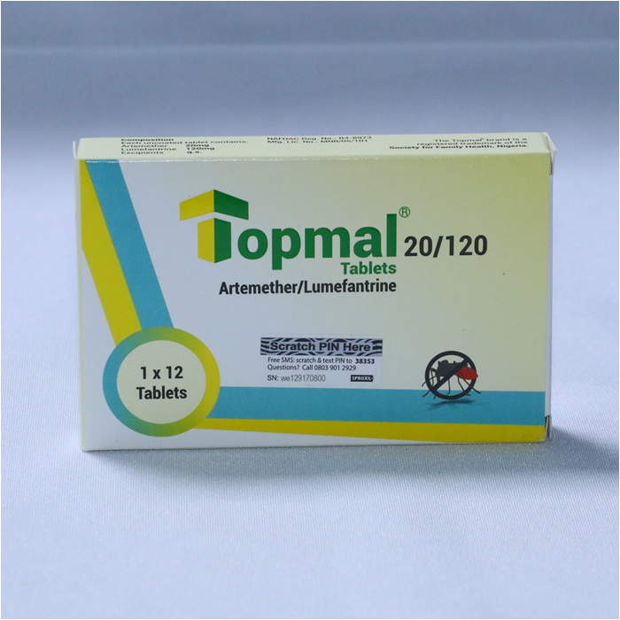 Artemether 20mg /Lumefantrine 120mg (TOPMAL ) 1 x 12 Tablets