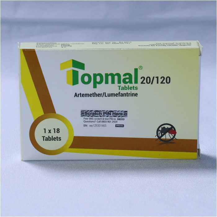 Artemether 20mg/Lumefantrine 120mg  ( TOPMAL)  x 18 Tablets